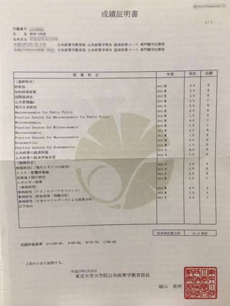 成績証明書1・東京大学公共政策大学院経済政策コース