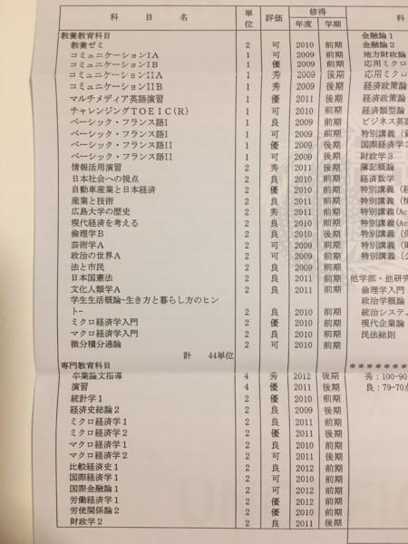成績証明書・広島大学経済学部経済学科(左側)